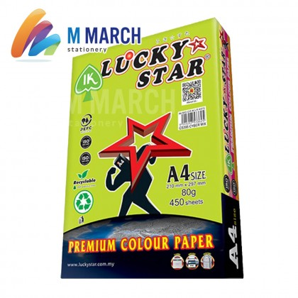 Ik Lucky Star Colour Paper A4 80 gsm 450 Sheets (Cyber Mix)