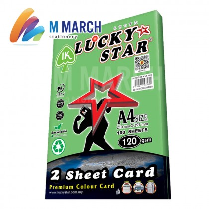 Ik Lucky Star A4 2 Sheet Card 120 gsm 100 Sheets (Middle Green)