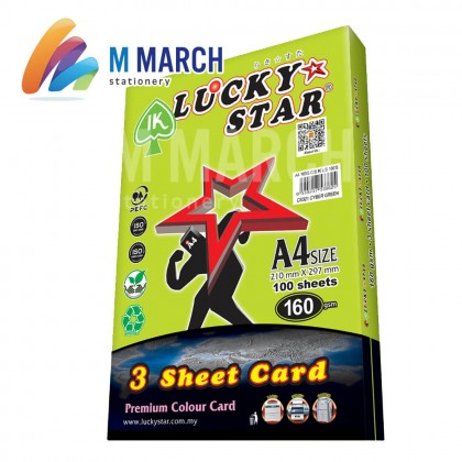 Ik Lucky Star A4 3 Sheet Card 160 gsm 100 Sheets (Cyber Green)